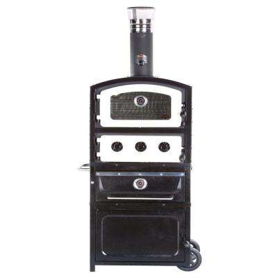 Alto Series Wood and Charcoal Fired Oven and Smoker with Warming Drawer and Storage Box in Black