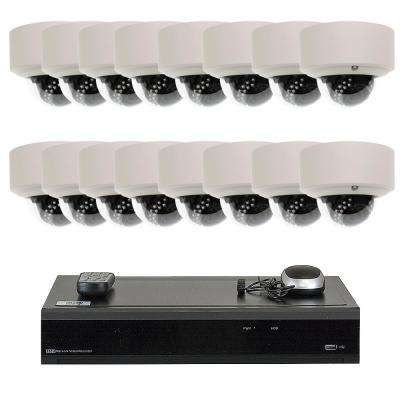 32-Channel 5-MP DVR 4TB HDD Surveillance System with 16-Wired IP Cameras 2.8 mm to 12 mm Motorized Zoom 100 ft. IR