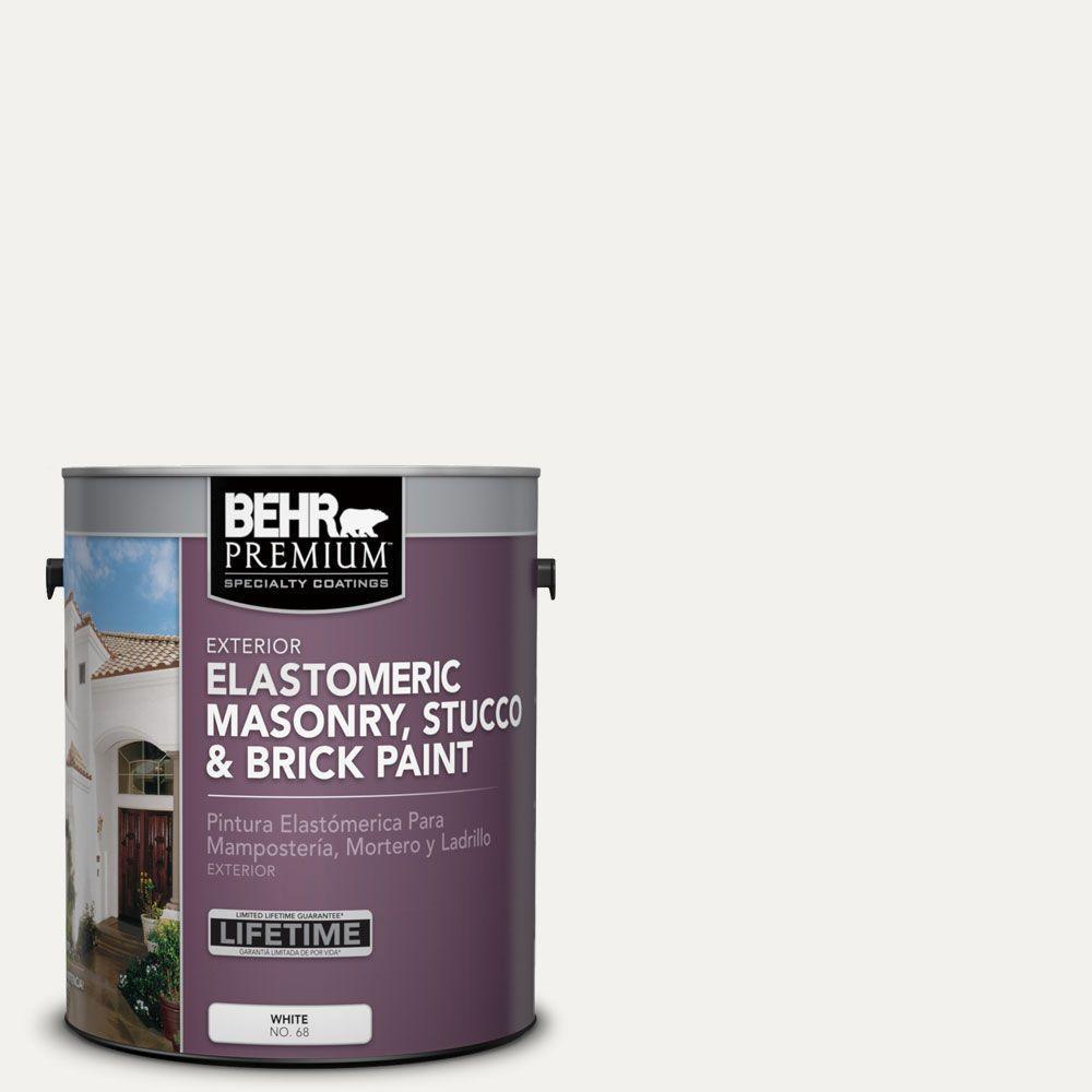BEHR PREMIUM 1 Gal. #MS-39 Crystal White Elastomeric Masonry, Stucco and Brick Exterior Paint