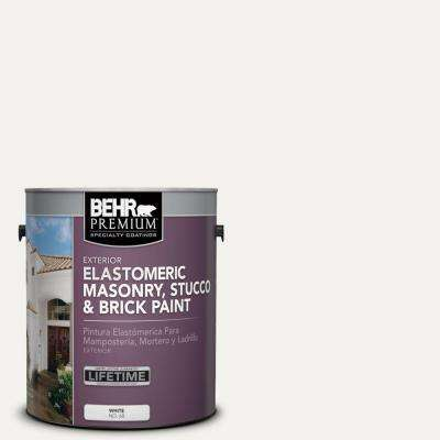 1 Gal. #MS-39 Crystal White Elastomeric Masonry, Stucco and Brick Exterior Paint