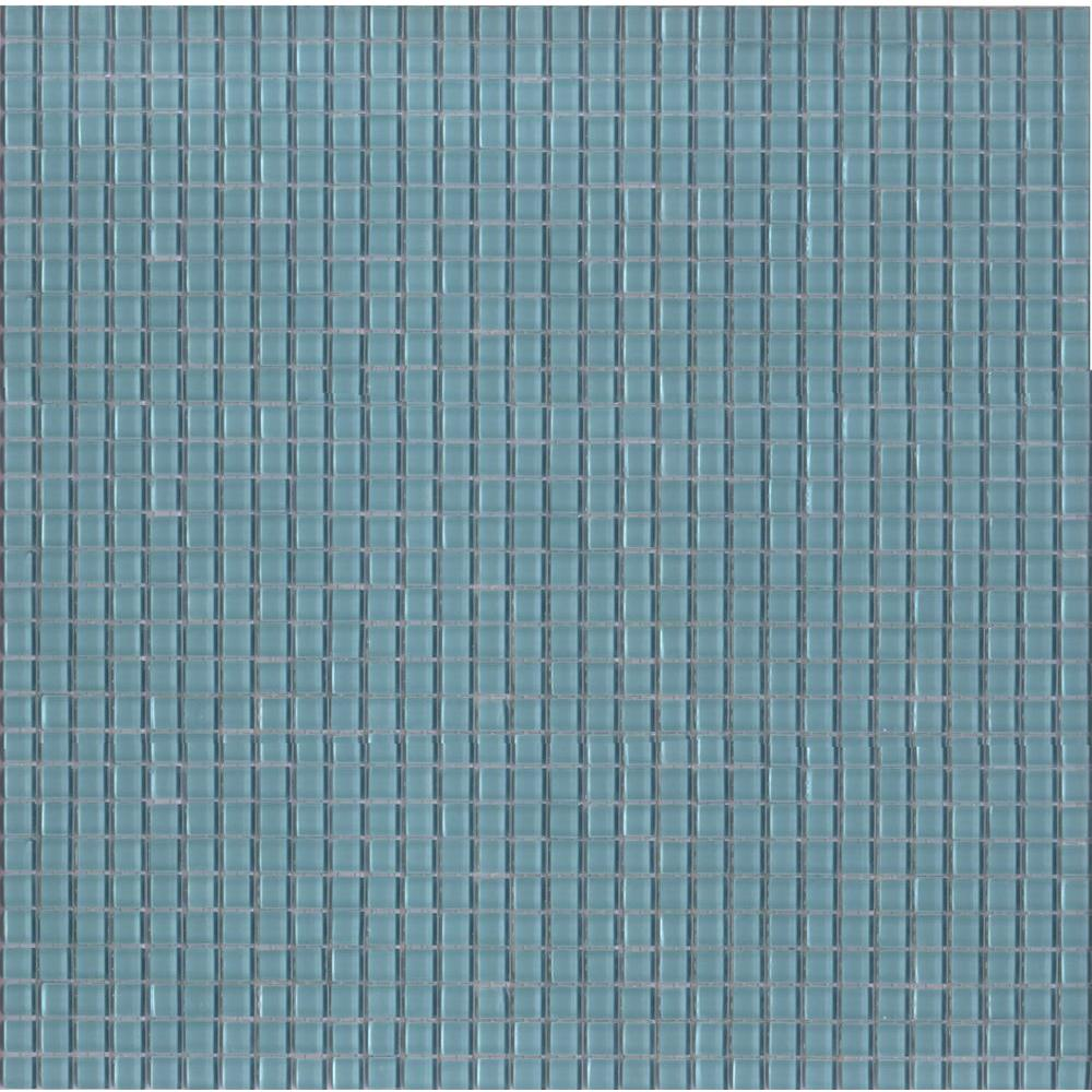 Elementz 12.8 in. x 12.8 in. Venice Aqua Glossy Glass Tile-DISCONTINUED