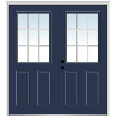 60 in. x 80 in. White Internal Grilles Right-Hand Inswing 1/2-Lite Clear 2-Panel Painted Steel Prehung Front Door