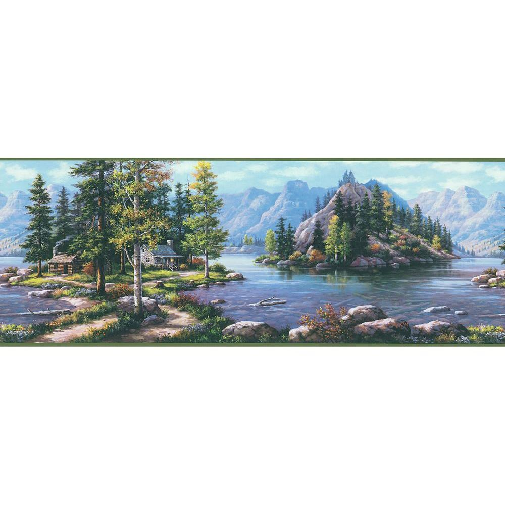Brewster Northwoods Lodge Scenic Mountain Wallpaper Border