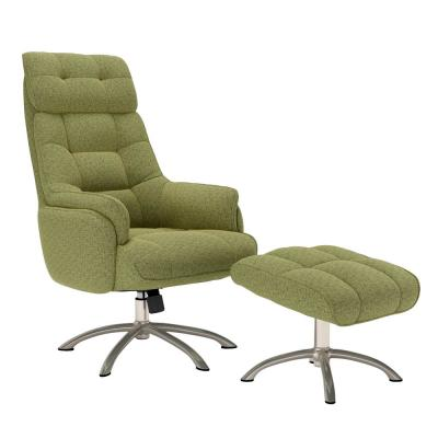 Colin Contemporary in Apple Green Tweed  Swivel Tweed Rocker Chair and Ottoman Set