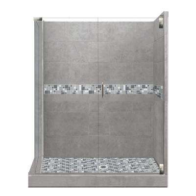 Newport Grand Hinged 32 in. x 36 in. x 80 in. Right-Hand Corner Shower Kit in Wet Cement and Satin Nickel Hardware
