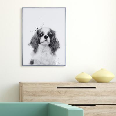 """""""King Charles Spaniel"""" Black and White Dog Paintings on Reverse Printed Glass Framed Wall Art"""