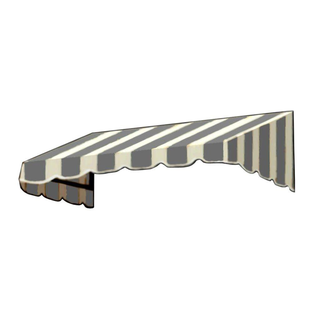 AWNTECH 3 ft. San Francisco Window Awning (44 in. H x 24 in. D) in Gray/White Stripe