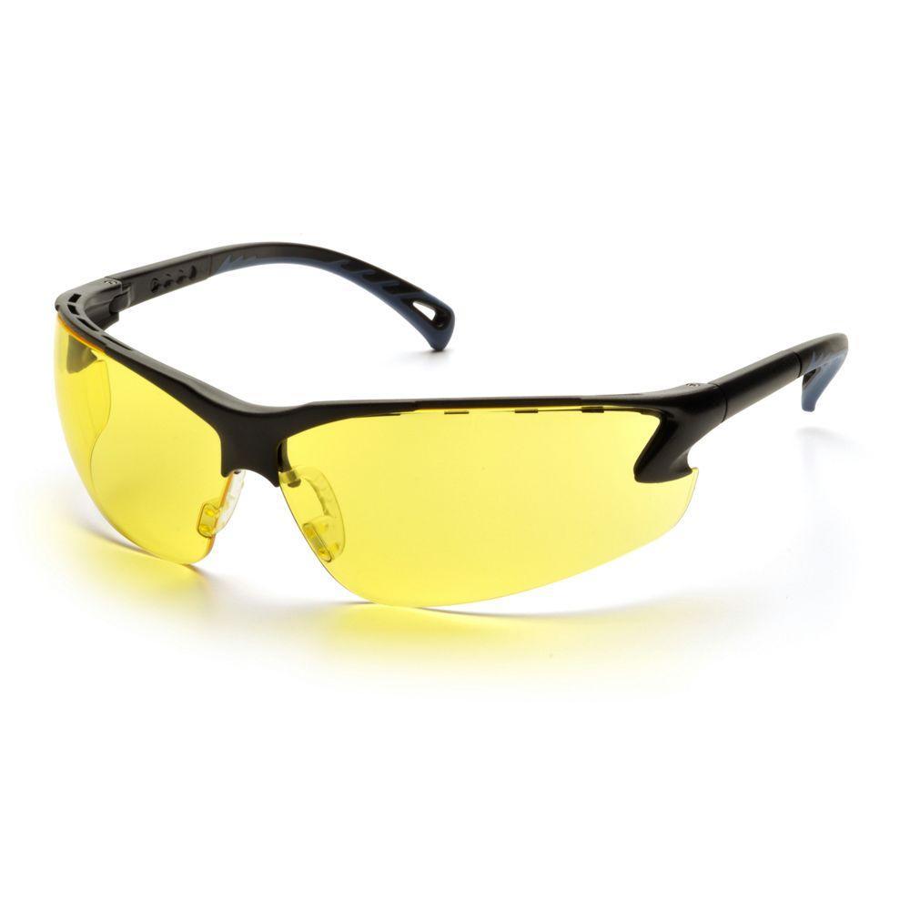 null Venture 3 Black Frame Amber Lens Safety Glasses-DISCONTINUED
