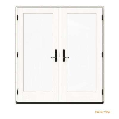 72 in. x 80 in. W-4500 Desert Sand Clad Wood Right-Hand Full Lite French Patio Door w/White Paint Interior