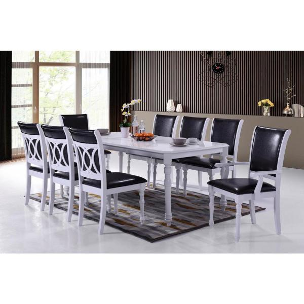 White Modern 9 Piece Dining Set