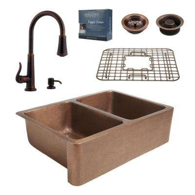 Pfister All-in-One 33 in. Rockwell Copper Farmhouse Kitchen Sink 3-Hole with Faucet in Rustic Bronze