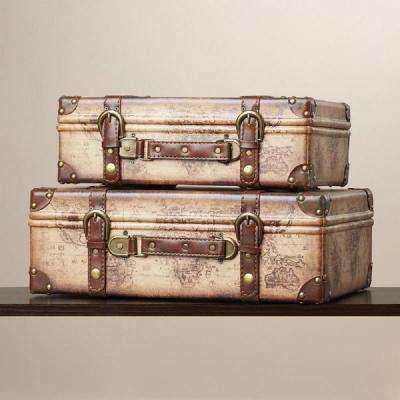 17 in. x 12 in. x 6 in. Wood and Faux Leather Old World Map Vintage Style Suitcase with Straps, Set of 2