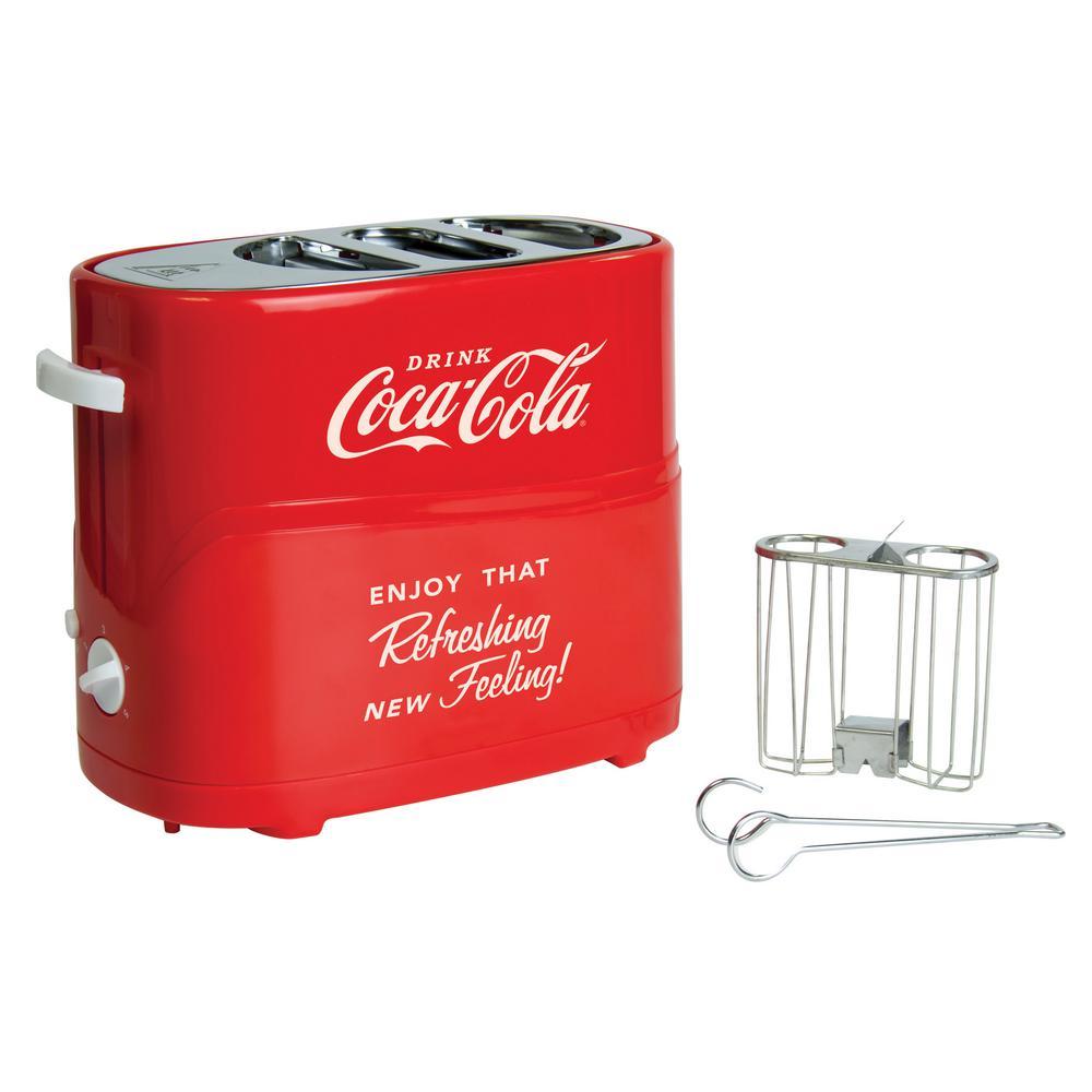 Retro Series 2-Slice Coca-Cola Long Slot  Hot Dog and Bun Toaster with Crumb Tray and Mini Tongs