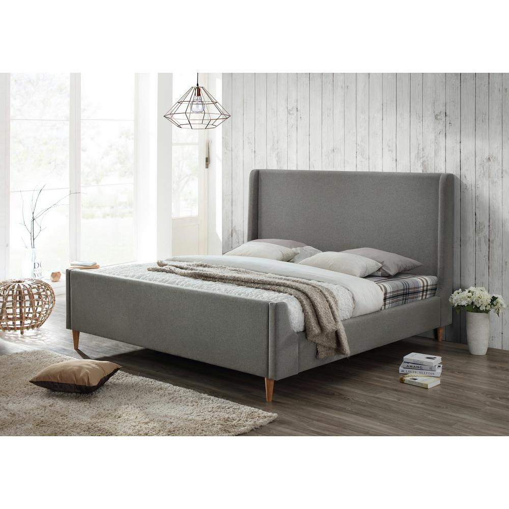 this review is frombedford king upholstered platform bed in gray. luxeo bedford king upholstered platform bed in linen greylux