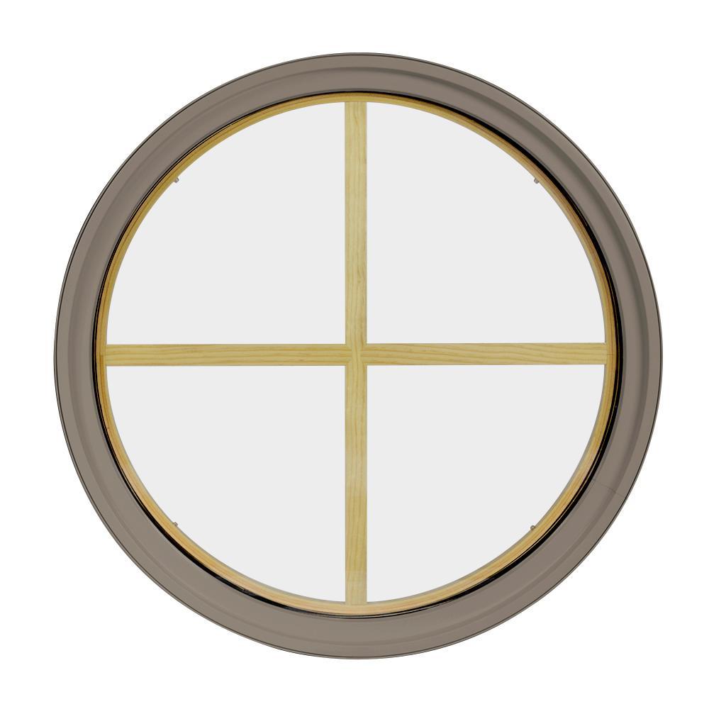18 in. x 18 in. Round Sandstone 4-9/16 in. Jamb 4-Lite Grille Geometric Aluminum Clad Wood Window