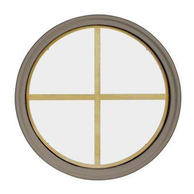 30 in. x 30 in. Round Sandstone 6-9/16 in. Jamb 4-Lite Grille Geometric Aluminum Clad Wood Window