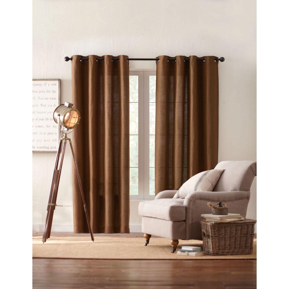 Semi-Opaque Chocolate Basket Texture Grommet Curtain