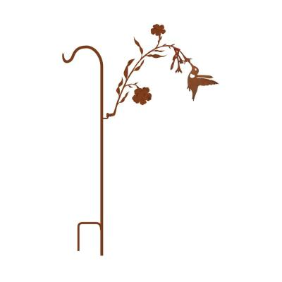 50 in. Tall Yellowish Brown Rust Steel Shepherd's Hook with Hummingbird on Branch