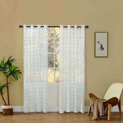 Dash 54 in. L x 52 in. W Sheer Polyester Curtain in Navy Blue