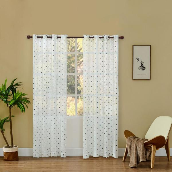 Dash 95 in. L x 52 in. W Sheer Polyester Curtain in Navy Blue