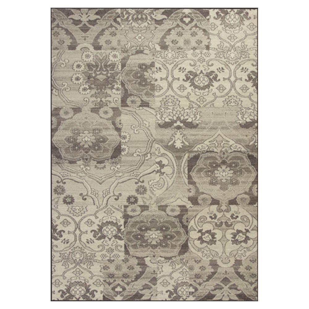 Kas Rugs Elegant Damask Grey/Ivory 6 ft. 7 in. x 9 ft. 6 in. Area Rug