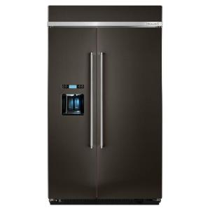 KitchenAid 48 inch W 29.5 cu. ft. Built-In Side by Side Refrigerator in Black Stainless by KitchenAid
