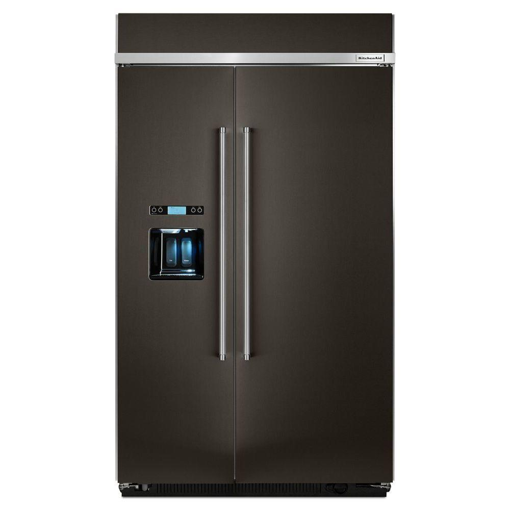 KitchenAid 29.5 cu. ft. Built-In Side by Side Refrigerator in PrintShield  Black Stainless