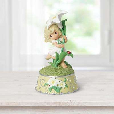 Tabletop Lily Resin Music Box Girl With Lily Flower Figurine