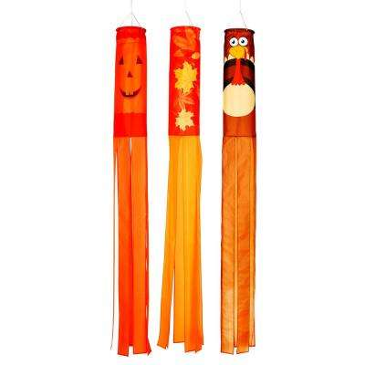 Fall Season Windsock 60 in. Set of 3 Pumpkin Leaves and Turkey