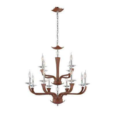 Pella Collection 12-Light Chrome and Brown Chandelier