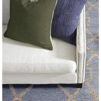 Textured Cotton 22 in. x 22 in. Square Solid Dark Olive Decorative Pillow
