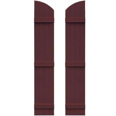 14 in. x 81 in. Board-N-Batten Shutters Pair, 4 Boards Joined with Arch Top #167 Bordeaux