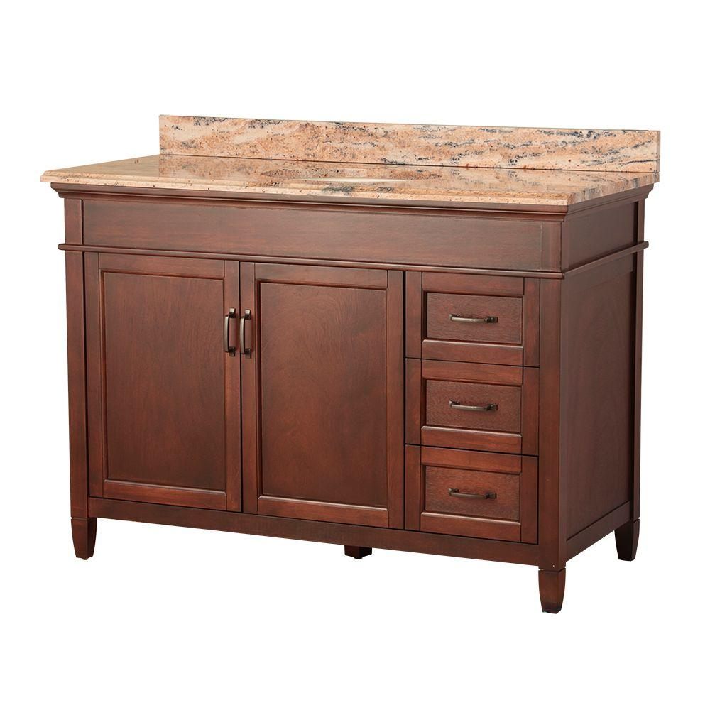 Home Decorators Collection Ashburn 49 in. W x 22 in. D Vanity in Mahogany with Right Drawers with Vanity Top and Stone Effects in Bordeaux was $1099.0 now $769.3 (30.0% off)
