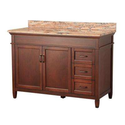 Ashburn 49 in. W x 22 in. D Vanity in Mahogany with Right Drawers with Vanity Top and Stone Effects in Bordeaux