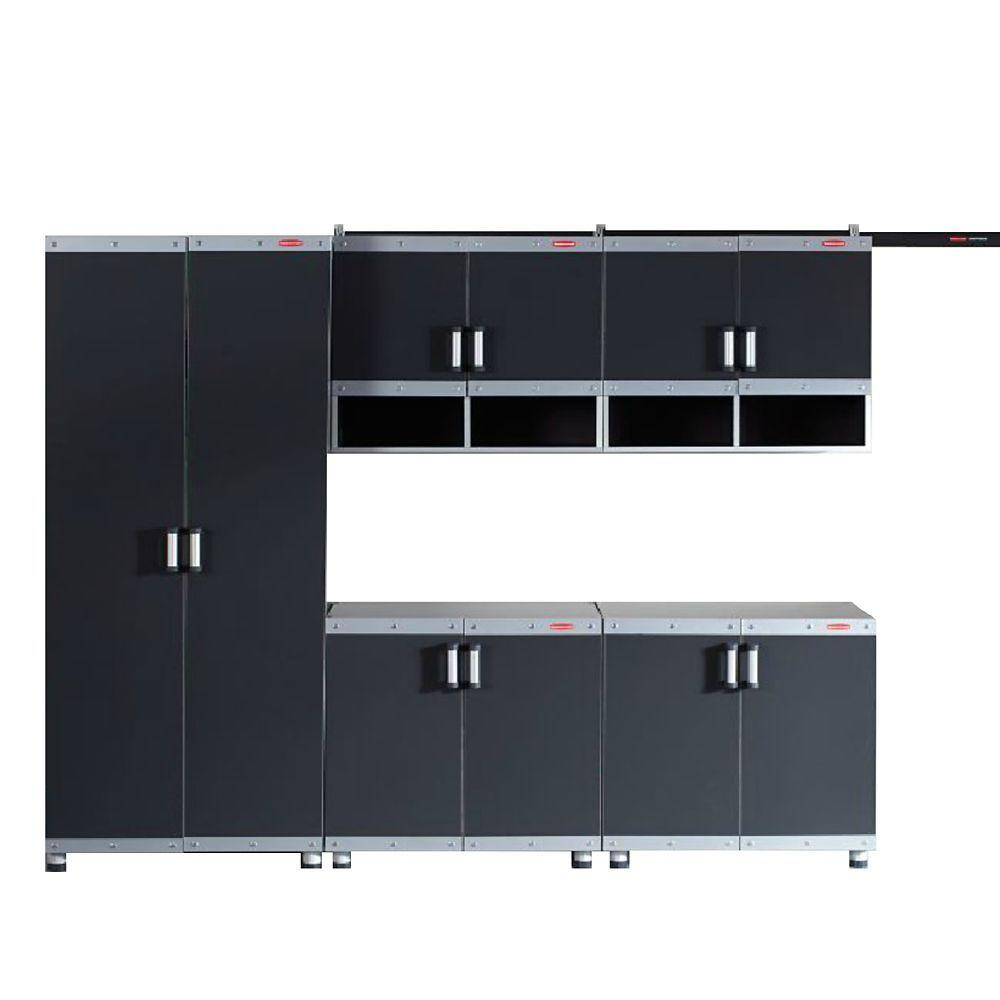 Rubbermaid FastTrack Garage Laminate 5 Piece Cabinet Set In Black Silver FTCS10004