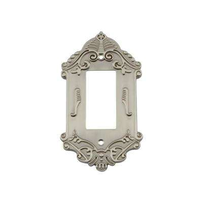 Victorian Switch Plate with Single Rocker in Satin Nickel