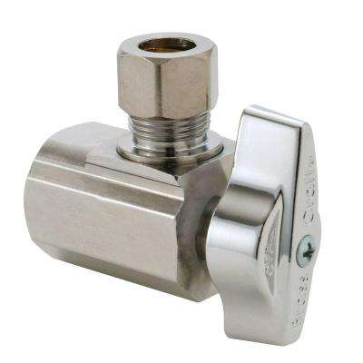 1/2 in. FIP Inlet x 3/8 in. O.D. Compression Outlet Brass 1/4-Turn Angle Ball Valve (5-Pack)