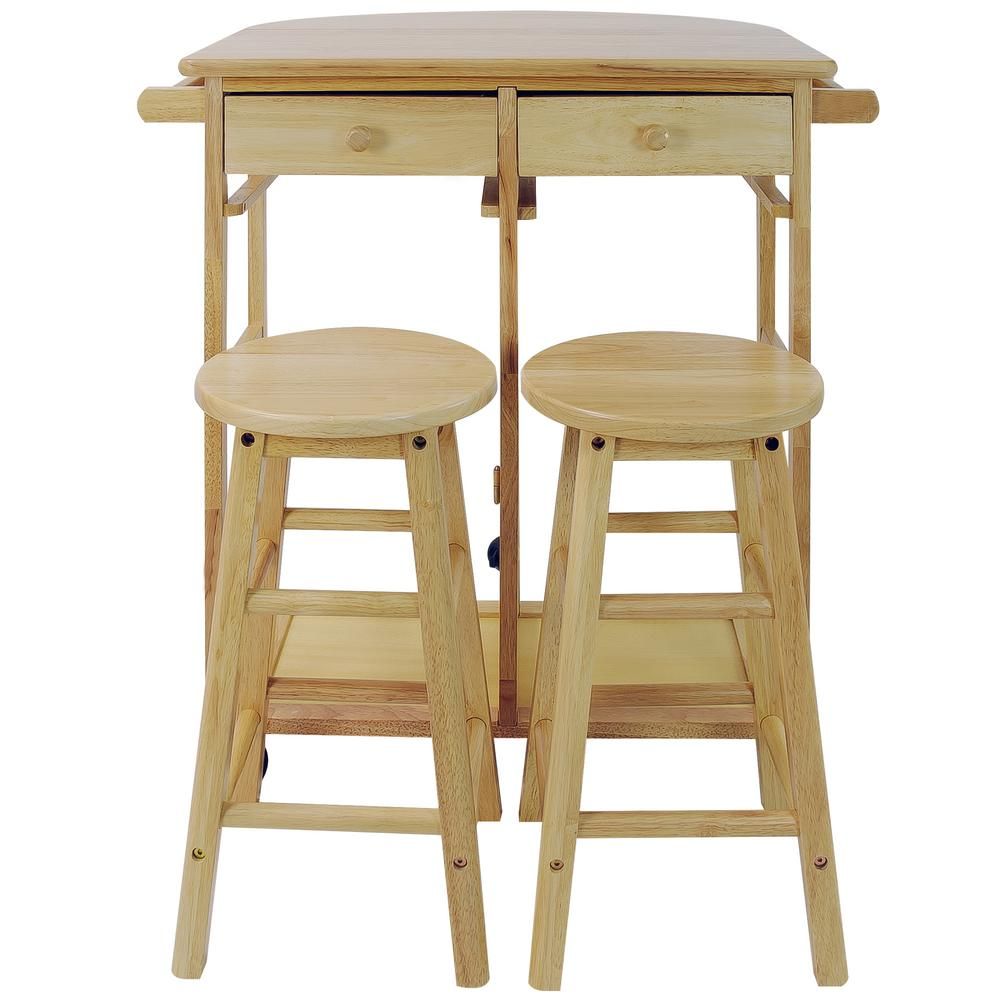 Casual Home Natural Breakfast Cart with Drop-Leaf Table