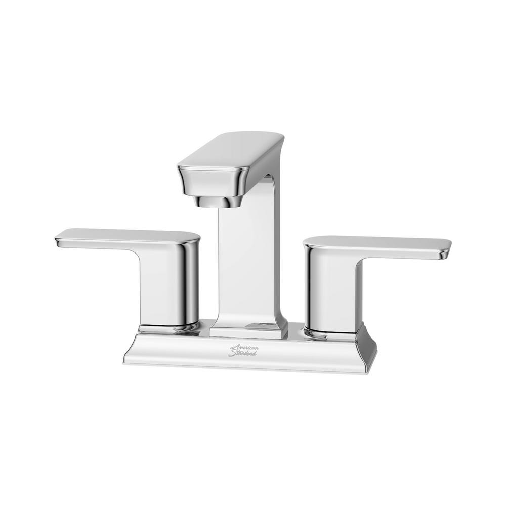 AMERICAN STANDARD Forsey 4 in. Centerset 2-Handle Bathroom Faucet with Easy Install Push Drain in Chrome