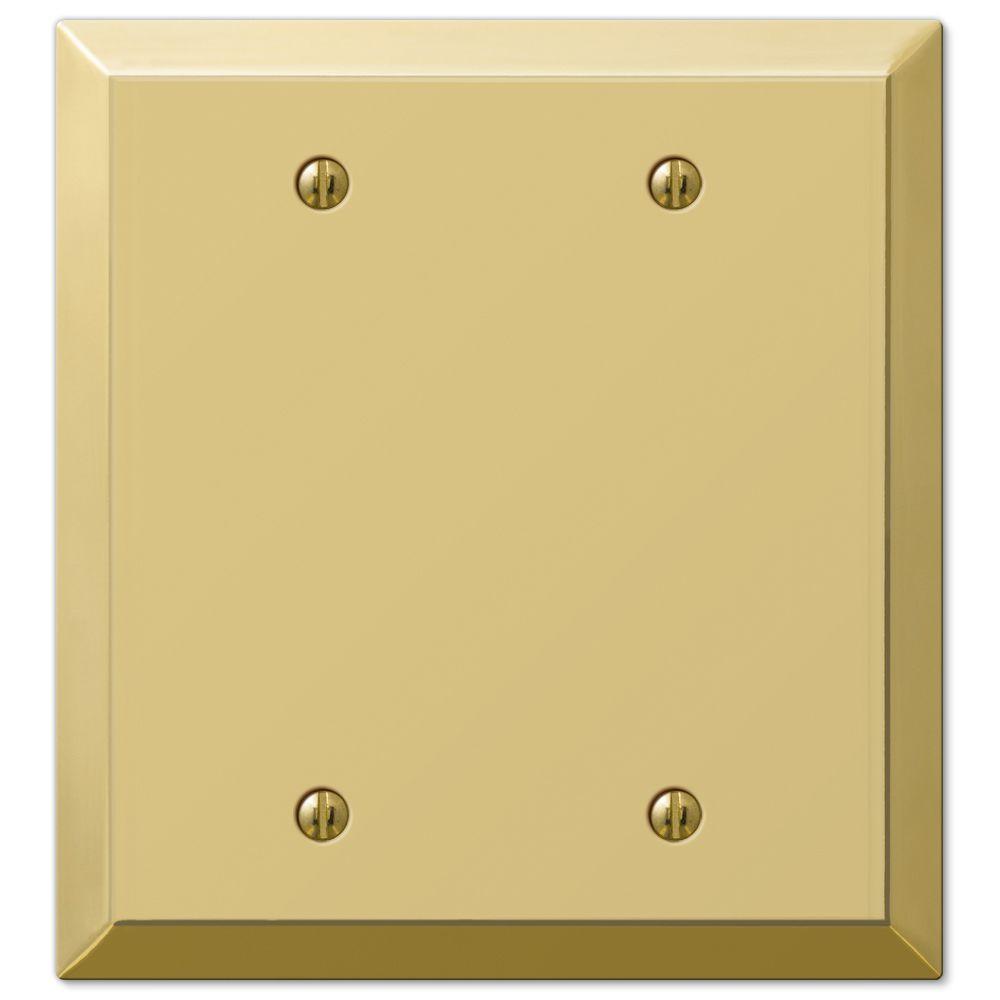Hampton bay century 2 blank wall plate polished brass for Four blank walls