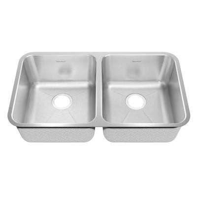 Prevoir Brushed Undermount Stainless Steel 32.875 in. 0-Hole Bowl Double Bowl Kitchen Sink Kit