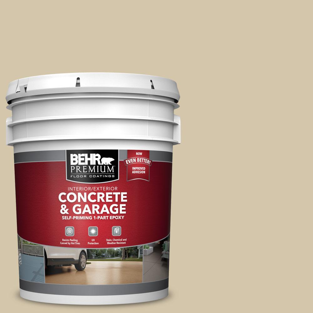 BEHR PREMIUM 5 gal. #YL-W11 Khaki Shade Self-Priming 1-Part Epoxy Satin Interior/Exterior Concrete and Garage Floor Paint