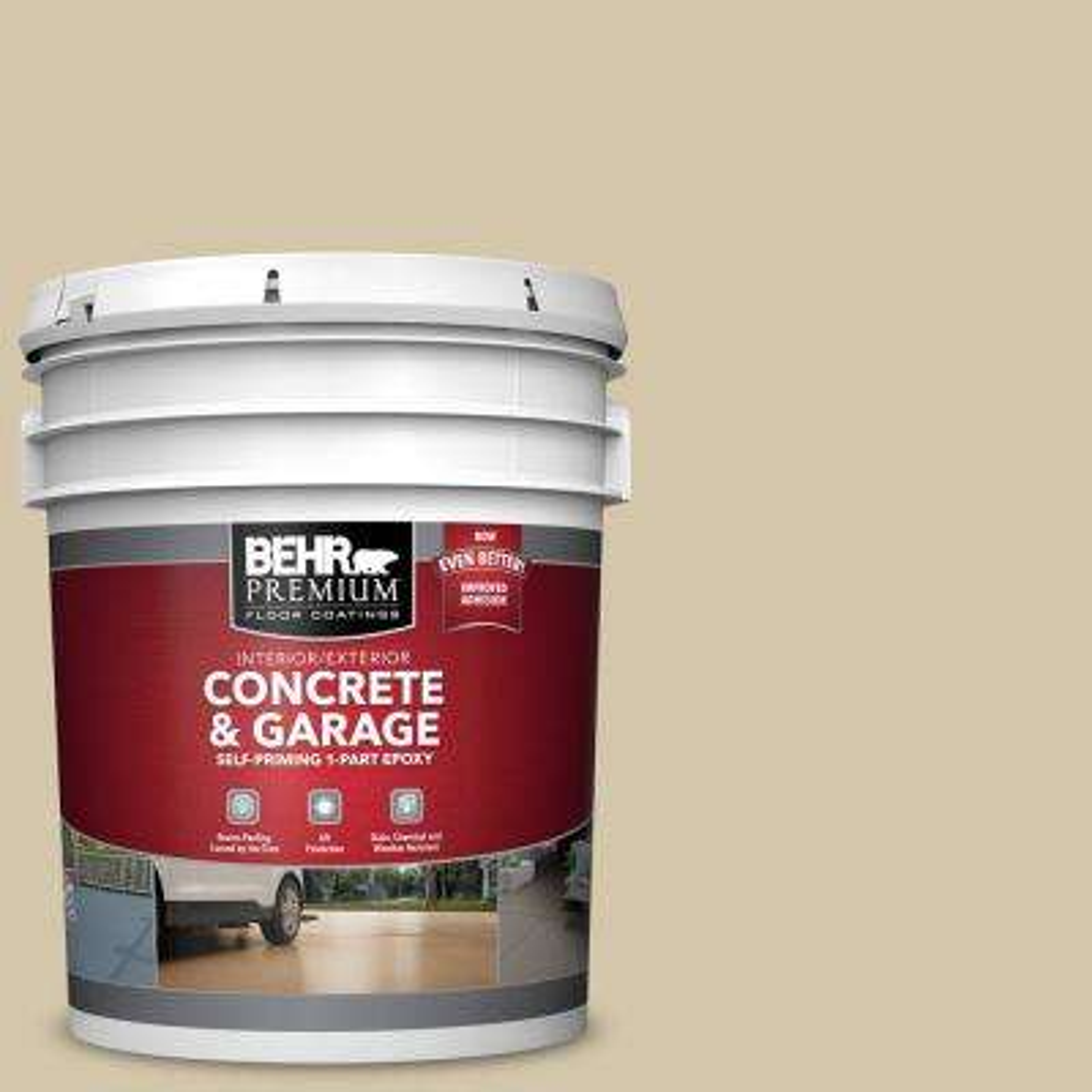 5 gal. #YL-W11 Khaki Shade Self-Priming 1-Part Epoxy Satin Interior/Exterior Concrete and Garage Floor Paint