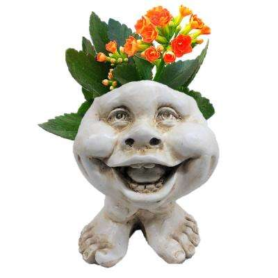 8.5 in. Antique White in. Little Buddy in. the Muggly Face Statue Planter Holds 3 in. Pot