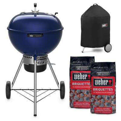 22 in. Master Touch Charcoal Grill in Deep Ocean Blue Combo with Grill Cover and 2-Bags of Weber Charcoal Briquettes