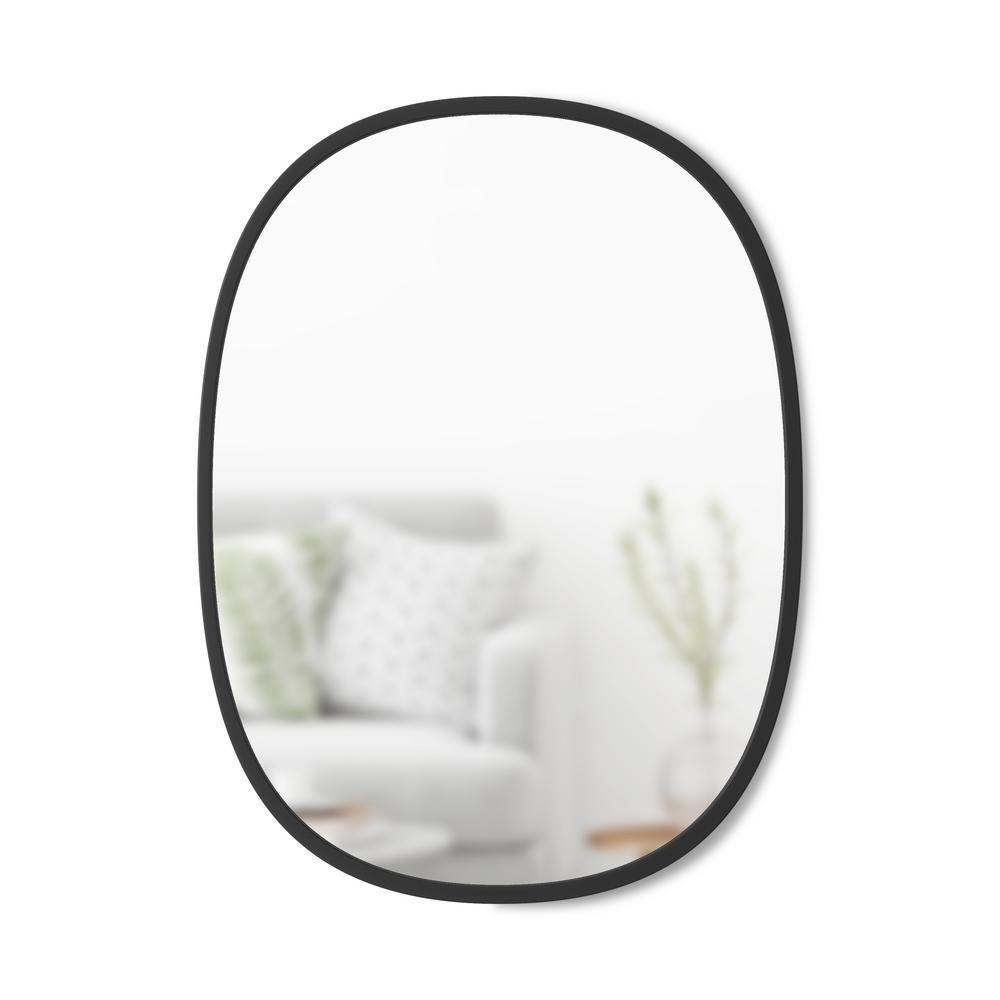 Small Oval Black Modern Mirror (1.25 in. H x 18 in. W)