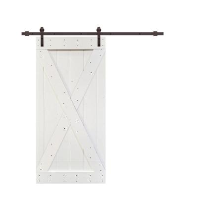 X Series 42 in. x 84 in. White Knotty Pine Wood Interior Sliding Barn Door with Hardware Kit