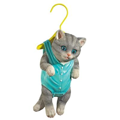 Design Toscano 12 In H Hanger Kitty Hanging Gray Tabby Cat Statue Qm2982270 The Home Depot