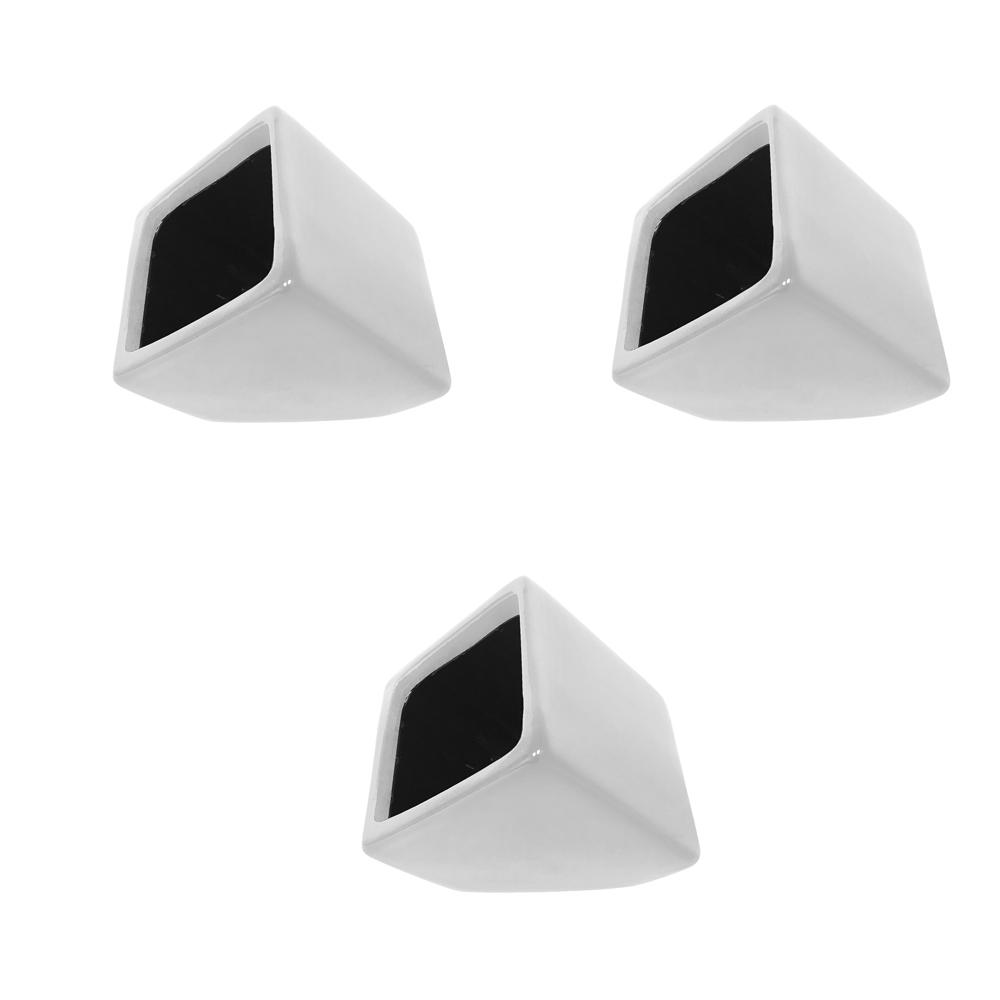 Cube 3-1/2 in. x 4 in. Gloss White Ceramic Wall Planter