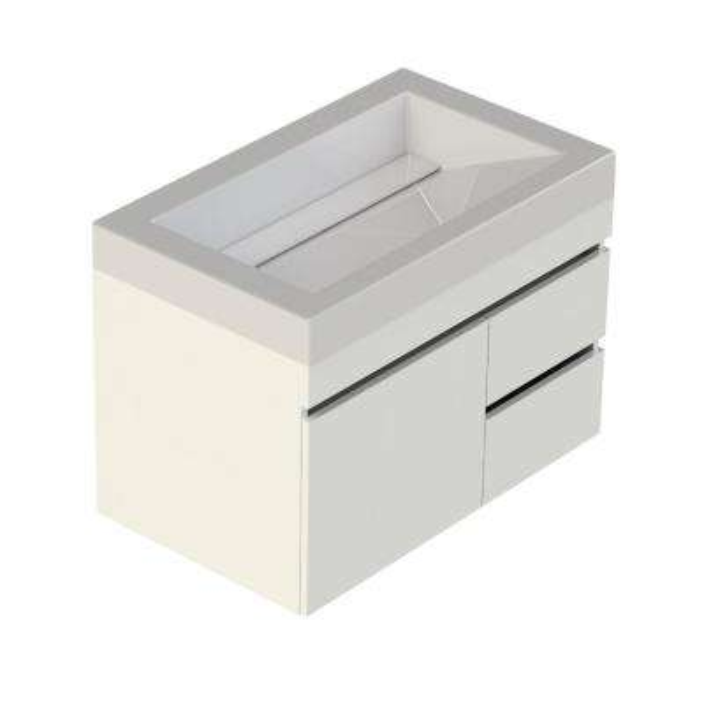 Viteli Plus Genova 31 in. W x 19 in. D Vanity in White with Cultured Marble Vanity Top in White with White Basin